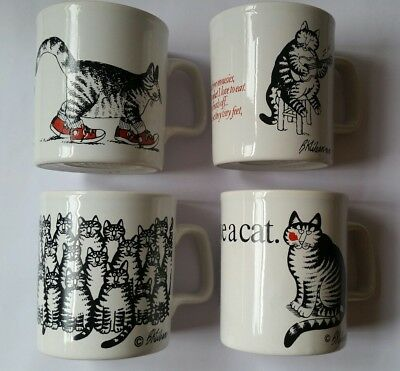 Set Lot Of 4 B Kliban England Kiln Coffee Cups Mugs Cats Rare White Black Collec