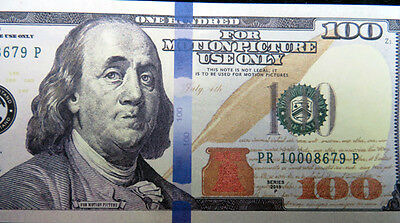 Motion Picture Prop Money Franklin $100 Novelty Fake Funny Money