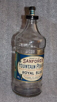 Antique/Vintage Sanford's Fountain Pen Ink Bottle Quart Size No. 221 Royal Blue