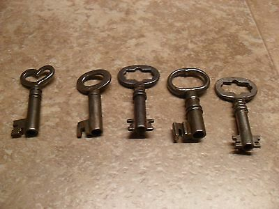 5 Open Barrel Skeleton Trunk Keys Hollow Double Sided