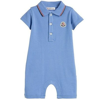Moncler Baby Boys Blue Logo Polo Shirt Shortie Romper 9-12 Months