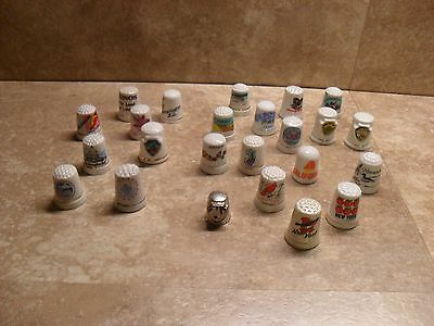 Lot Of 24 Mixed State City Porcelain Thimbles