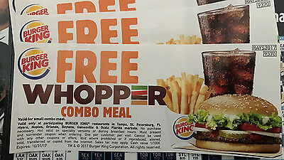 10 Tampa Bay Rays  Whopper Combo Meal Vouchers $60 value ! TEN WHOPPER MEALS!