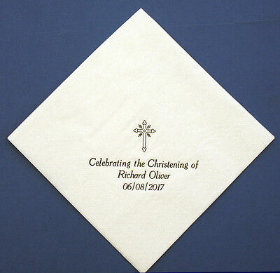 100 Personalised 33cm 2ply Christening Napkins White. Printed in Gold or Silver