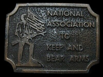 LI07146 VINTAGE 1970s **NATIONAL ASSOCIATION TO KEEP AND BEAR ARMS** GUN BUCKLE