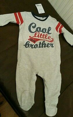 NEXT cool little brother sleepsuit babygrow 3-6 months NEW baby boy BNWT