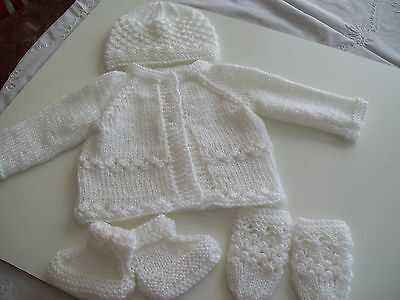 New hand knitted white babies matinee set 0-3 months