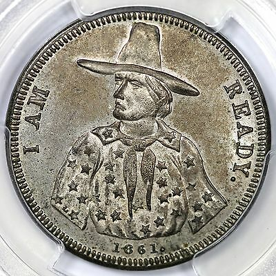 """1861 Patriotic Civil War Token F-147/227 R6 Silver Plated PCGS MS63 """"I Am Ready"""""""