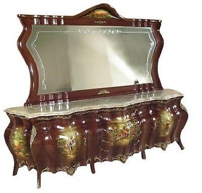 SALE Antique French Painted Romance Sideboard w/ Brass Ormolu F-1275 FREE S/H