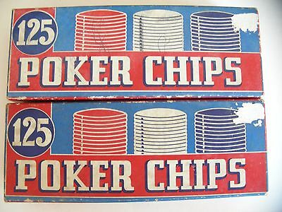 Vtg Lot of 2 Boxes of Noiseless Unbreakable Poker Chips Red & White Blue mixed