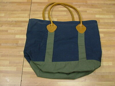 L.L.Bean Boat Canvas Tote w/Leather Handles Plaid Lining Navy Blue Green EUC!