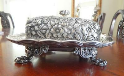 Tiffany & Co Sterling Silver Floral Repousse Lion  Paw Footed Covered Dish