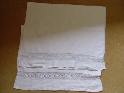 "Pair of Vintage Linen Huckaback Towels. 38"" x 24"". Linen. White. Crocheting."
