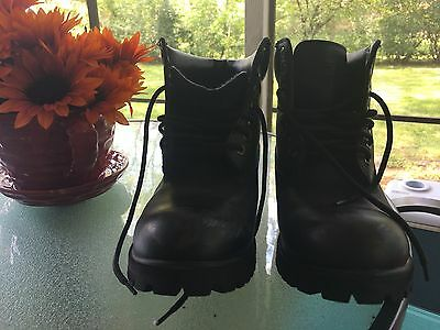 Waterproof Black leather work boots Men's: 7 and Women's:9