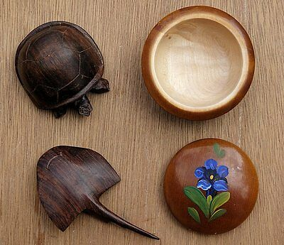 Ironwood Turtle and Stingray Carvings + Painted German Wooden Bowl