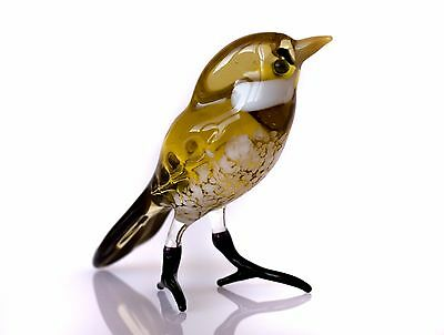 "Sparrow ""Murano"" Art, Blown Glass Handmade Woodland Bird Figurine"