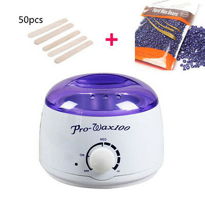 Wax Warmer Heater Machine + 300g Waxing Beans + 50pcs Hair Removal Sticks Set
