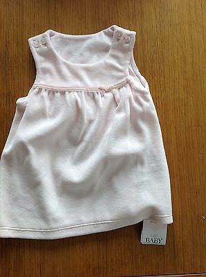 Baby Girls Dress 0-3 Months M&s Pink Goes Over T-Shirt Brand New With Tags