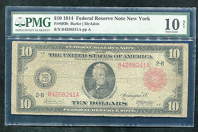 FR. 893b 1914 $10 RED SEAL FRN FEDERAL RESERVE NOTE PMG VG-10