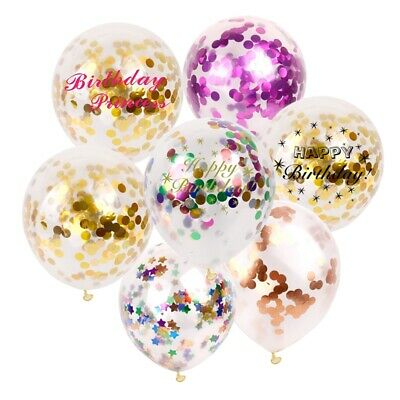 "12"" 5pc Rose Gold Confetti Balloons Filled Helium Birthday Party Wedding Decor"