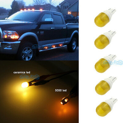 5x Amber Clearance Cab Marker Roof Light Ceramics LED Bulbs For Ford Super Duty