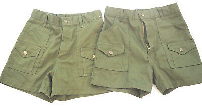 2 Pair -- Vintage Boy Scout Army Green Snap Pocket Shorts - Size 14 Waist 27