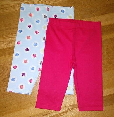 BNWOT M&S Marks and Spencer 2 x leggings red blue spotty dotty 0-3 m