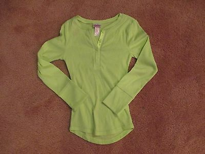 Girl's Justice Size 6 Part Button Green  3/4 Sleeve Shirt. Nwot