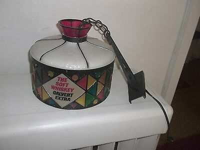 Vintage Rare The Soft Whiskey Calvert Extra Stained Plastic Hanging Bar Light