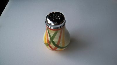 Vernon Kilns Homespun spice or sugar shaker. Approximately six inches tall, mint