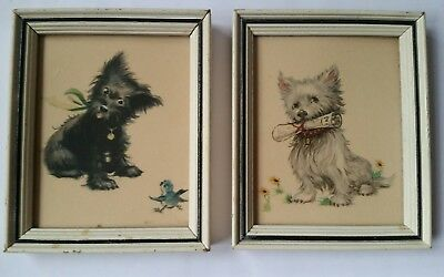 Pair Vintage Lambert Products USA Small Framed Black & White Terrier Pictures