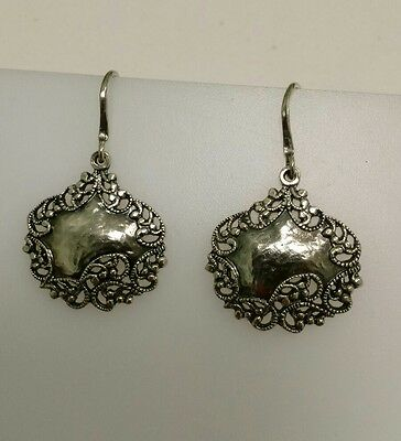 Sterling Silver Luggage Tag StyleOrnate Dangle Drop Earrings by PZ Israel PAZ
