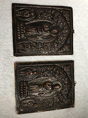 Pair of Antique Copper Buddhist Ingraved Metal Pictures