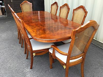Gorgeous Regency Style Burr Walnut Marquetry Dining Set, Pro French Polished