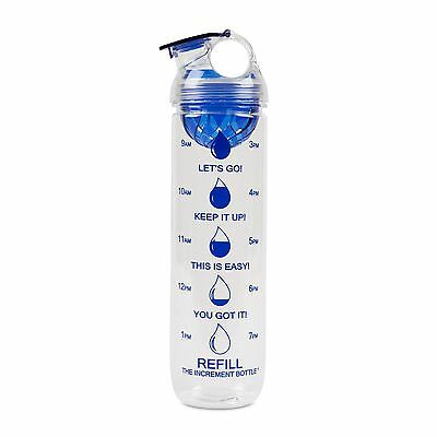 The Increment Bottle Blue Dome Infuser Motivational Diet Water Bottle BPA FREE