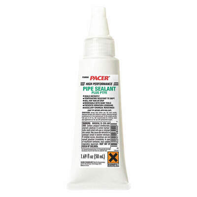 PACER Pipe Thread Sealant,PTFE,50mL,White, FG08000, White