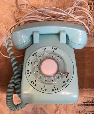 Vintage Bell System Mint Seafoam Rotary Desk Phone By Western Electric