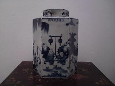 Large antique Chinese blue & white hexagonal covered jar 19th-20th century