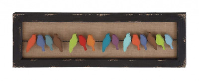Birds On A Wire Wood And Metal Wall Art, Colorful Distressed Finish Bird Statue