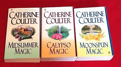 LOT of 3 MAGIC TRILOGY by CATHERINE COULTER, Midsummer, Calypso & Moonspun Magic