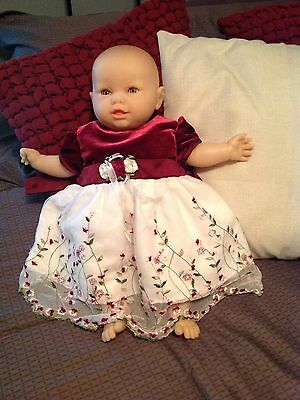 "Berjusa 53 cloth & vinyl body lashes brown sleep eyes 19"" doll  extra clothes"