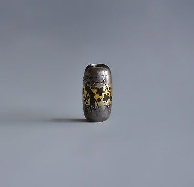 A Silver & Gold Tone Decorated Japanese Meiji Mixed Metal Sagemono Bead