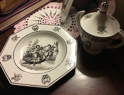 Italy Mottahedeh Set of Black And White Creil Reproduction Pieces