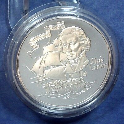 1980 Gibraltar Silver Proof Crown - 175th Anniversary of Death of Lord Nelson