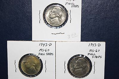 1943D uncirculated jefferson nickel full steps, LOT OF 3 COINS.