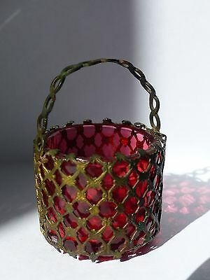 RARE Antique French 19th Century Cranberry Glass / Ormolu Basket with Handle