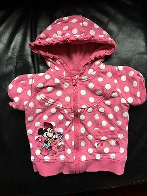 Disney Minnie Mouse Hoodie 3-6 Months Baby Girl Pink Spotty