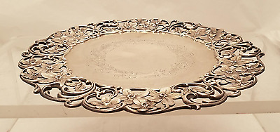 Roger Williams Sterling Floral Cake Plate / Tazza Plate