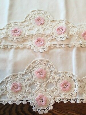 """Very Sweet Vintage Hand Crocheted Pink Floral Pillowcase Set~18"""" X 30 1/2"""""""