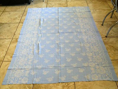 """Vintage 1950's Blue with White Roses Rose Cotton Floral Table Cloth 58"""" x 81.5"""""""